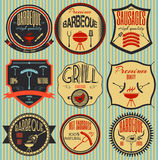 Set retro vintage badges, ribbons and labels hipster signboard. Barbeque stock illustration