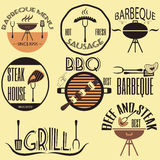 Set retro vintage badges, ribbons and labels hipster signboard. Barbeque royalty free illustration