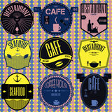 Set retro vintage badges, ribbons and labels hipster signboard Stock Photos