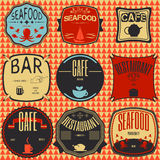 Set retro vintage badges, ribbons and labels hipster signboard Stock Photo