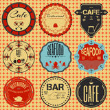Set retro vintage badges, ribbons and labels hipster signboard Royalty Free Stock Image