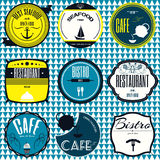 Set retro vintage badges, ribbons and labels hipster signboard. Coffee shop, restaurant Set retro vintage badges, ribbons and labels hipster signboard Royalty Free Stock Photos