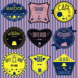 Set retro vintage badges, ribbons and labels hipster signboard Royalty Free Stock Photography