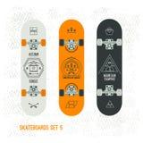 Set of retro vintage badges on a skateboard Royalty Free Stock Image