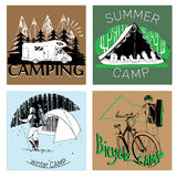 Set of retro vintage camp labels and logo graphics. Vector illustration of set of retro vintage camp labels and logo graphics Stock Photos