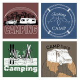 Set of retro vintage camp labels and logo. Vector illustration of set of retro vintage camp labels and logo graphics Stock Photography