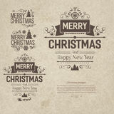 Set of retro vintage Christmas badges. Design elements, labels, emblems on old scratched paper. Badges and labels with merry christmas greetings. Great for Stock Photo