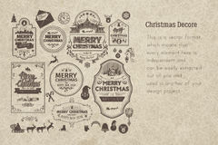 Set of retro vintage Christmas badges. Design elements, labels, emblems on old scratched paper. Badges and labels with merry christmas greetings. Great for Royalty Free Stock Photos