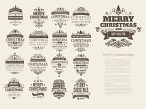 Set of 17 retro vintage Christmas badges Royalty Free Stock Images