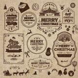 Set of retro vintage Christmas design elements, labels Stock Image