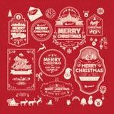 Set of retro vintage Christmas design elements, labels, emblem on red background. Royalty Free Stock Image