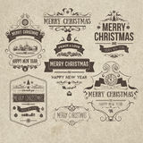 Set of retro vintage Christmas design elements Royalty Free Stock Photography