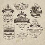 Set of retro vintage Christmas design elements Royalty Free Stock Photography