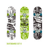 Set of retro vintage drawing on a skateboard Royalty Free Stock Image