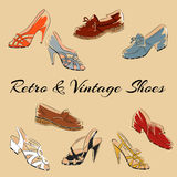 Set of retro vintage female shoes. Sketch vector illustration Royalty Free Stock Images