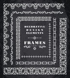 Set of Retro Vintage Frames and Borders.  Chalk Board Background Stock Photos