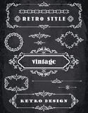 Set of Retro Vintage Frames and Borders.  Chalk Board Background Royalty Free Stock Photography
