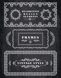 Set of Retro Vintage Frames and Borders.  Chalk Board Background Stock Image