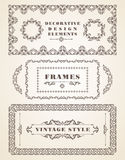 Set of Retro Vintage Frames and Borders. Stock Photo