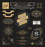 Set of retro vintage graphic design elements Stock Image