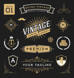 Set of retro vintage graphic design elements Stock Images
