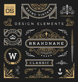 Set of retro vintage graphic design elements. Sign, frame labels, ribbons, logos symbols, crowns, flourishes line and ornaments. Vector illustration Royalty Free Stock Image