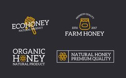 Set of retro vintage honey and bee, honeycomb, dipper logo or insignia, emblems, labels and badges and other branding. Vector logo or icon design element for Stock Image