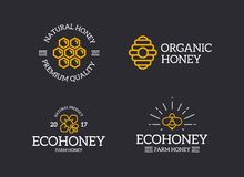 Set of retro vintage honey and bee, honeycomb, hive logo or insignia, emblems, labels and badges and other branding. Vector logo or icon design element for Royalty Free Stock Photography