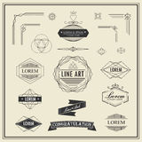 Set of retro vintage linear thin line art deco design elements Royalty Free Stock Photo