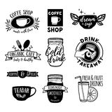Set retro vintage logos for coffee shop, tea bar.  Royalty Free Stock Photos