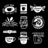 Set retro vintage logos for coffee shop, tea bar. Logos with juice, smoothies and a cup of tea. Symbol, label, badge Royalty Free Stock Images