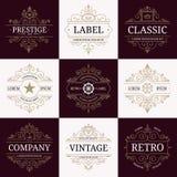 Set of retro vintage luxury logotypes Royalty Free Stock Photos