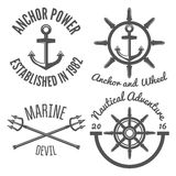 Set of retro vintage nautical labels and badges Royalty Free Stock Images