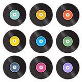 Set of retro vinyl gramophone. Set of retro vinyl gramophone record vector isolated on white background Stock Photography