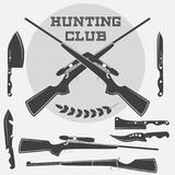 Set of retro weapons labels, emblems and design elements. Illustration Royalty Free Stock Photos