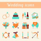 Set of retro wedding icons and design elements Royalty Free Stock Images