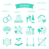 Set of retro wedding icons and design elements Stock Photography
