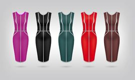 Set of 5 retro woman dresses. Vector art image illustration. Isolated on background Royalty Free Stock Photography