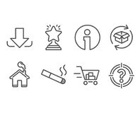 Return parcel, Smoking and Shopping cart icons. Download, Winner and Headhunter signs. Set of Return parcel, Smoking and Shopping cart icons. Download, Winner Stock Photography