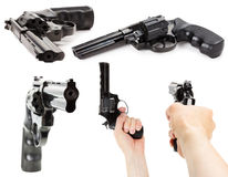 Set of Revolver Gun on the white background Royalty Free Stock Photography