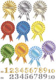 A set of rewards-rosettes. A set of colorful marking out qualifying signs of competition winners Royalty Free Stock Photography