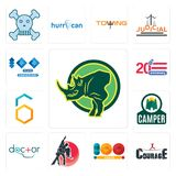 Set of rhino, courage, 100 year, dance studio, doctor, camper, hex, 20 anniversary, year anniversary icons. Set Of 13 simple  icons such as rhino, courage, 100 Stock Images
