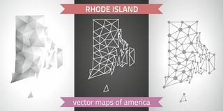 Rhode Island set of grey and silver mosaic 3d polygonal maps. Graphic vector triangle geometry outline shadow perspective maps. Set of Rhode Island polygonal Stock Image