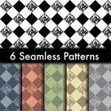 Set of 6 rhombus vector seamless patterns Royalty Free Stock Photos