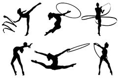 Set rhythmic gymnastics. Silhouette. vector illustration Stock Photos