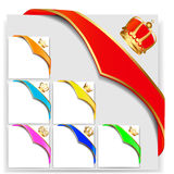 Set ribbon angular with gold  crown Royalty Free Stock Photography