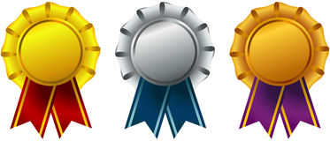 Set of Ribbon Awards Stock Photo