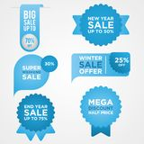 Set ribbon banner and label sticker sale offer and badge tag sale advertising with color blue. Flat labels, ribbons and tags for advertising. Vector vector illustration
