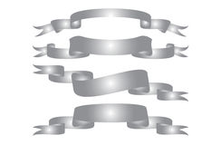 Set of ribbon banner silver Royalty Free Stock Photo