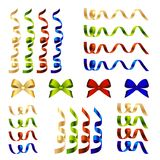 Set of ribbon and bow decorative elements Stock Photos